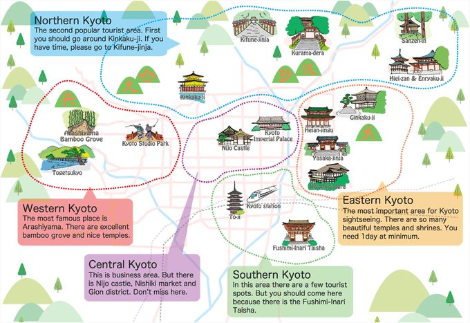 Asking For Directions in Japanese Kyoto Tourist Map